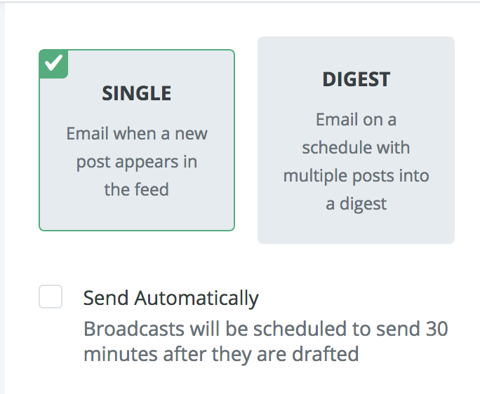 choose single or digest rss automation in converkit
