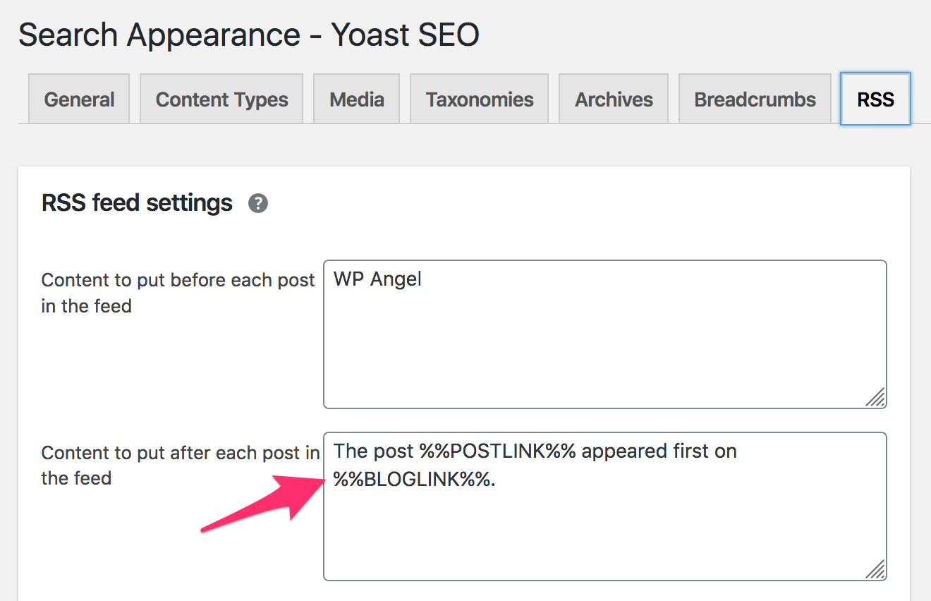 yoast rss setting